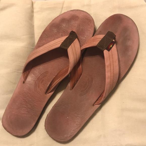 27b42690c32fe Women's pink leather Rainbow flip flops